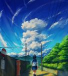 1girl arms_at_sides black_hair blue_legwear blue_sky clouds day facing_away feet_out_of_frame fence highres kneehighs kyarage_(soda) original outdoors pleated_skirt postbox power_lines road_sign rural scenery school_uniform serafuku short_sleeves sign skirt sky solo standing summer wooden_fence