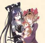 2girls animal beige_background black_cat black_hat blue_bow blue_eyes blue_hair bow brown_hair cat closed_eyes collar debt dog drill_hair earrings eyewear_on_head hair_bow hat hisona_(suaritesumi) holding holding_animal hood hood_down hoodie jacket jewelry long_hair multiple_girls necklace purple_jacket red_bow ring shiny shiny_hair siblings simple_background sisters smile sunglasses top_hat touhou twin_drills very_long_hair yorigami_jo'on yorigami_shion