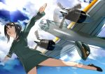 1girl absurdres aircraft airplane bangs black_eyes black_footwear black_hair black_neckwear chouno_ami clouds cloudy_sky day dress_shirt female_service_cap flats from_below girls_und_panzer green_jacket green_shirt green_skirt hat hat_removed headwear_removed highres inou_takashi jacket japan_ground_self-defense_force jumping lens_flare long_sleeves military military_hat military_uniform miniskirt necktie open_mouth outdoors outstretched_arms pantyhose pencil_skirt sheer_legwear shirt shoes short_hair skirt sky skydive solo spread_arms swept_bangs triangle_mouth uniform v-shaped_eyebrows vehicle_request