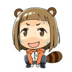1girl :d animal_ears bangs blunt_bangs boots brown_eyes brown_hair chibi coat commentary_request denden embarrassed open_mouth pants raccoon_ears raccoon_tail simple_background smile solo sora_yori_mo_tooi_basho squatting sweatdrop tail tamaki_mari tan tanline white_background