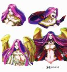 1girl breasts chains cleavage cuffs fangs fate/grand_order fate_(series) forehead fuchino gorgon_(fate) grin highres large_breasts long_hair looking_at_viewer multiple_views navel purple_hair rider scales shackles smile snake_hair sweat translation_request upper_body very_long_hair violet_eyes white_background wings