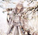 1boy abandon_ranka armor black_gloves branch cherry_blossoms gloves highres hood japanese_armor japanese_clothes katana male_focus partly_fingerless_gloves sheath sheathed smile sword touken_ranbu tsurumaru_kuninaga weapon white_hair yellow_eyes