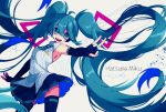 1girl absurdly_long_hair aqua_eyes aqua_hair character_name elbow_gloves fingerless_gloves gloves halgase hatsune_miku headset highres long_hair necktie open_mouth outstretched_arm pleated_skirt skirt solo thigh-highs twintails v very_long_hair vocaloid white_background wings
