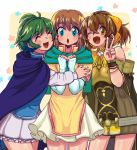 3girls bare_shoulders blue_eyes bow bracelet breasts brown_hair capelet cloak closed_eyes cowboy_shot dress dyute_(fire_emblem) elbow_gloves fang fingerless_gloves fire_emblem fire_emblem:_akatsuki_no_megami fire_emblem:_rekka_no_ken fire_emblem:_souen_no_kiseki fire_emblem_echoes:_mou_hitori_no_eiyuuou fire_emblem_heroes gloves green_hair hair_bow hair_tubes hairband hug jewelry looking_at_viewer magokoro_bento miniskirt mist_(fire_emblem) multiple_girls nino_(fire_emblem) one_eye_closed open_mouth orange_eyes short_dress short_hair short_ponytail skirt small_breasts smile v white_gloves