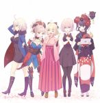 5girls ahoge asymmetrical_hair bare_shoulders black_dress black_footwear black_hair black_jacket black_legwear black_ribbon blue_eyes blue_jacket blue_kimono blush boots bow breasts coat commentary_request dango dress eyebrows_visible_through_hair eyes_visible_through_hair fate/grand_order fate_(series) flower food full-length_zipper fur-trimmed_coat fur-trimmed_jacket fur-trimmed_sleeves fur_collar fur_trim glasses hair_bow hair_flower hair_ornament hair_over_one_eye hair_ribbon high_heel_boots high_heels jacket japanese_clothes jeanne_d'arc_(alter)_(fate) jeanne_d'arc_(fate)_(all) katsushika_hokusai_(fate/grand_order) kimono knee_boots large_breasts leaf_print magatama mash_kyrielight medium_breasts miyamoto_musashi_(fate/grand_order) multiple_girls nichiru obi octopus okita_souji_(fate) one_eye_closed open_clothes open_coat open_jacket paintbrush pink_hair ponytail purple_hair red_neckwear ribbon sandals sash short_dress short_hair short_kimono sleeveless sleeveless_kimono smile thigh-highs type-moon unsheathed violet_eyes wagashi wicked_dragon_witch_ver._shinjuku_1999 yellow_eyes zipper