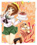 1girl :d artist_name bandaid bangs black_legwear black_neckwear blouse boko_(girls_und_panzer) brown_eyes brown_hair cake cast commentary confetti dated english eyebrows_visible_through_hair food fork gift girls_und_panzer green_skirt happy_birthday hat holding jumping loafers long_sleeves looking_at_viewer miniskirt neckerchief nishizumi_miho ooarai_school_uniform open_mouth orange_background outside_border parda_siko party_hat plate pleated_skirt school_uniform serafuku shoes short_hair signature skirt smile socks solo stuffed_animal stuffed_toy teddy_bear white_blouse
