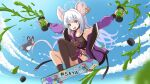 1girl animal_ears blue_archive casual clouds collarbone commentary_request daiz_(nodadaiz) fang full_body highres jacket liquid looking_at_viewer mouse mouse_ears mouse_tail open_mouth red_eyes saya_(blue_archive) skateboard sky solo tail