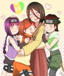 1girl 4girls blush boruto:_naruto_next_generations brown_hair closed_eyes forehead_protector grin group_hug heart highres hug hyuuga_hanabi izuno_wasabi kakei_sumire lavender_eyes long_hair looking_at_viewer mizuno_12 mole mole_under_eye multiple_girls naruto purple_hair short_hair smile suzumeno_namida twintails