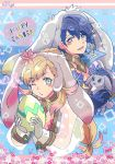 1boy 1girl alfonse_(fire_emblem) animal_ears blonde_hair blue_hair blush bow bowtie braid bunny_girl bunny_tail bunnysuit detached_collar egg fake_animal_ears fire_emblem fire_emblem_heroes gloves green_eyes highres kiriya_(552260) long_hair looking_at_viewer multicolored_hair open_mouth rabbit_ears sharena short_hair simple_background smile tail wrist_cuffs