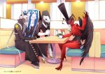 arsene_(persona_5) beckoning black_coat black_wings booth coffee_cup cravat crossover crushing cup diner drinking_glass gloves hat high_heels izanagi jacket long_coat looking_at_viewer no_humans persona persona_3 persona_4 persona_5 red_jacket saucer shield shiweru sitting thanatos top_hat white_gloves wings yellow_eyes