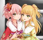 2girls :d blonde_hair commentary_request eyelashes fang flower fur_collar green_eyes hair_flower hair_ornament hair_scrunchie hotatehote idolmaster idolmaster_cinderella_girls japanese_clothes jougasaki_mika jougasaki_rika kimono long_hair multiple_girls nail_polish obi one_eye_closed open_mouth pink_hair pink_nails sash scrunchie siblings side_ponytail sisters smile tsurime two_side_up yellow_eyes