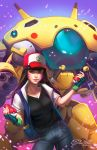1girl amber_harris baseball_cap breasts brown_eyes brown_hair cleavage commentary cosplay d.va_(overwatch) facepaint facial_mark fingerless_gloves gloves green_gloves hat holding holding_poke_ball jacket large_breasts long_hair looking_at_viewer mecha meka_(overwatch) open_clothes open_jacket overwatch pikachu poke_ball pokemon pokemon_(anime) satoshi_(pokemon) satoshi_(pokemon)_(cosplay) short_sleeves signature solo watermark web_address whisker_markings