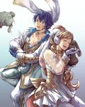 1boy 1girl absurdres alfonse_(fire_emblem) alternate_costume animal_ears blonde_hair blue_hair brother_and_sister choker closed_eyes cuddling dress fake_animal_ears fire_emblem fire_emblem_heroes gradient gradient_background highres jin_(phoenixpear) long_hair pectorals rabbit rabbit_ears see-through sharena siblings simple_background smile white_dress