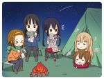 5girls akiyama_mio beamed_quavers beamed_semiquavers black_hair black_legwear brown_hair campfire camping closed_eyes crotchet grass green_scarf hirasawa_yui k-on! kotobuki_tsumugi long_hair multiple_girls musical_note nakano_azusa night night_sky open_mouth outdoors parody quaver ragho_no_erika ramen scarf short_hair sitting sky slurping smile star_(sky) starry_sky tainaka_ritsu tent thick_eyebrows twintails yurucamp