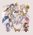 1boy alfonse_(fire_emblem) animal_ears bird blonde_hair blue_eyes blue_hair blush breasts brown_hair bunny_girl bunny_tail bunnysuit chibi cleavage detached_collar english fake_animal_ears feh_(fire_emblem_heroes) fire_emblem fire_emblem:_monshou_no_nazo fire_emblem_heroes fire_emblem_if gloves hair_over_one_eye headband kagerou_(fire_emblem_if) katua krazehkai large_breasts leotard long_hair looking_at_viewer multicolored_hair ninja open_mouth owl pegasus_knight ponytail rabbit_ears sharena short_hair simple_background smile strapless strapless_leotard tail weapon