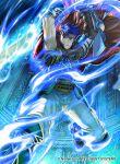 1boy armor blue_eyes blue_hair blue_scarf cape fire_emblem fire_emblem:_akatsuki_no_megami fire_emblem:_souen_no_kiseki fire_emblem_cipher gloves headband ike kita_senri male_focus official_art ragnell scarf short_hair sword weapon