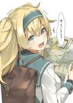 1girl alternate_costume backpack bag blonde_hair blue_eyes commentary_request gambier_bay_(kantai_collection) hair_between_eyes highres holding holding_map kantai_collection long_hair long_sleeves map negahami open_mouth simple_background solo speech_bubble tears translation_request twintails white_background