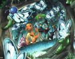 :o aqua_eyes brown_eyes butterfly butterfree charmander cocoon commentary commentary_request creature dutch_angle fangs fiery_tail flying forest gen_1_pokemon gen_2_pokemon gen_4_pokemon grass happiny ibui_matsumoto luxio metapod nature no_humans outdoors pokemon pokemon_(creature) signature skiploom standing tree yellow_eyes