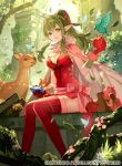 1girl apple bird breasts butterfly chiki cleavage cloak crystal deer fire_emblem fire_emblem:_kakusei fire_emblem:_monshou_no_nazo fire_emblem_cipher food fruit grass green_eyes green_hair leaf lens_flare nature pink_legwear pointy_ears sash sitting smile squirrel thigh-highs tobi_(kotetsu) tree