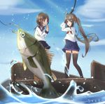 2girls animal artist_name blue_skirt blue_sky bow brown_eyes brown_hair clouds commentary_request day fish fishing fishing_hook fishing_line fishing_rod hair_bow hair_ornament hairclip holding holding_fishing_rod long_hair long_sleeves multiple_girls neckerchief original outdoors pleated_skirt red_bow red_neckwear school_uniform seero serafuku shirt skirt sky standing twintails very_long_hair water white_shirt