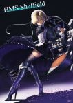 1girl :o apron armor azur_lane blonde_hair boots braid breasts chains character_name collar commentary_request cross dark_background dress dust facing_away frills garter_straps gun hair_over_one_eye high_heel_boots high_heels highres itaco1987 knee_boots knee_pads long_sleeves looking_at_viewer looking_to_the_side maid maid_apron maid_headdress rigging serious sheffield_(azur_lane) shell short_hair signature solo standing thigh-highs torpedo torpedo_launcher torpedo_tubes turret weapon white_apron yellow_eyes