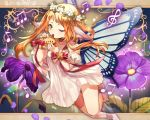 1girl ;) animal_ears anklet bare_shoulders barefoot beamed_quavers blonde_hair bow bracelet butterfly_wings detached_sleeves dress flower full_body g_clef green_eyes head_wreath instrument jewelry l long_hair looking_at_viewer mizita musical_note ocarina one_eye_closed original puffy_short_sleeves puffy_sleeves purple_flower red_bow short_sleeves smile solo white_dress wings