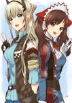 2girls absurdres alicia_melchiott bangs blonde_hair blue_eyes blush brown_eyes brown_hair gloves headdress highres jacket long_hair looking_at_viewer mar0maru military military_uniform multiple_girls open_mouth pantyhose pleated_skirt reiley_miller ribbed_sweater senjou_no_valkyria senjou_no_valkyria_1 senjou_no_valkyria_4 simple_background skirt smile sweater twintails uniform white_background