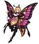 1girl :d antennae blonde_hair boots breasts butterfly_wings drinking_straw flower full_body hairband high_heel_boots high_heels highres insect_girl kenkou_cross large_breasts monster_girl monster_girl_encyclopedia open_mouth outstretched_arms papillon_(monster_girl_encyclopedia) red_eyes short_hair simple_background smile solo spread_arms thigh-highs thigh_boots white_background wings