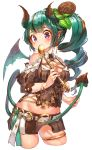 1girl bangs bare_shoulders bat_wings belt_buckle between_legs blush breasts brown_hair brown_shirt brown_skirt buckle chocolate cleavage collared_shirt commentary_request cowboy_shot cropped_legs cross-laced_clothes demon_girl demon_horns demon_tail demon_wings drill_hair earrings eyebrows_visible_through_hair fingernails green_hair green_wings groin hakura_kusa heart highres holding_tail horns jewelry large_breasts leaf leaf_on_head long_hair looking_at_viewer midriff miniskirt mint mouth_hold multicolored_hair navel original pleated_skirt pointy_ears puffy_sleeves raised_eyebrows shiny shiny_hair shirt shoulder_cutout side_drill sidelocks simple_background skirt skirt_lift solo spoon spoon_in_mouth standing streaked_hair tail tail_between_legs thighlet violet_eyes white_background white_belt wings
