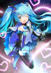 1girl ;d bangs black_gloves black_legwear blue_hair blue_skirt blush commentary_request elbow_gloves eyebrows_visible_through_hair full_body gloves glowstick green_eyes hair_between_eyes hair_ornament hatsune_miku hayama_eishi heart heart_hair_ornament holding holding_microphone looking_at_viewer microphone official_art one_eye_closed open_mouth outstretched_arm plaid plaid_skirt pleated_skirt purple_footwear purple_shirt sailor_collar shirt shoes sidelocks skirt sleeveless sleeveless_shirt smile solo standing standing_on_one_leg thigh-highs vocaloid white_sailor_collar winged_shoes wings