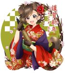 1girl :d akiyama_yukari animal_ears artist_name bangs black_gloves blue_shawl brown_eyes brown_hair commentary_request dog_ears dog_tail eyebrows_visible_through_hair floral_print flower girls_und_panzer gloves hair_flower hair_ornament happy_new_year highres holding japanese_clothes kimono long_sleeves looking_at_viewer messy_hair new_year open_mouth parda_siko print_kimono red_kimono shawl short_hair smile solo standing tail tank_shell translation_request upper_body wide_sleeves year_of_the_dog