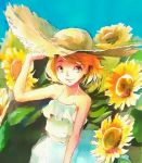 1girl bare_arms blonde_hair blue_eyes dress faux_traditional_media flower hat kagamine_rin looking_at_viewer sawashi_(ur-sawasi) short_hair sleeveless sleeveless_dress smile solo spaghetti_strap straw_hat sun_hat sundress sunflower vocaloid white_dress