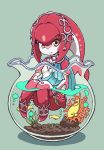1girl blush chibi fins fish fish_girl hair_ornament highres jewelry long_hair looking_at_viewer mipha monster_girl multicolored multicolored_skin nazonazo_(nazonazot) no_eyebrows red_skin redhead smile the_legend_of_zelda the_legend_of_zelda:_breath_of_the_wild yellow_eyes zora