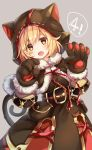 1girl :d animal_hood bangs belt_buckle black_belt black_capelet black_dress blonde_hair blush brown_eyes buckle capelet cat_ears cat_hood cat_tail commentary_request crystal djeeta_(granblue_fantasy) dress eyebrows_visible_through_hair fang fur-trimmed_capelet fur-trimmed_gloves fur_trim gloves gomano_rio granblue_fantasy grey_background hair_between_eyes head_tilt highres hood hood_up hooded_capelet looking_at_viewer open_mouth paw_gloves paws simple_background smile solo tail