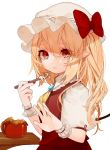 1girl ascot blonde_hair bow brooch closed_mouth commentary_request eyebrows_visible_through_hair flandre_scarlet frown gotoh510 hair_between_eyes hat hat_bow holding holding_spoon jewelry looking_at_viewer mob_cap nail_polish pointy_ears puffy_short_sleeves puffy_sleeves red_bow red_eyes red_nails red_skirt red_vest short_hair short_sleeves side_ponytail simple_background skirt solo table tears touhou upper_body vest white_background wings wrist_cuffs yellow_neckwear
