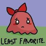 1girl blush bow chuchu_(kirby) diddgery grass hoshi_no_kirby hoshi_no_kirby_3 kirby's_dream_land_3 kirby_(series) no_humans octopus sad sea_creature sky solo