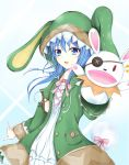 1girl animal_hood blue_eyes blue_hair blush bunny_hood bunny_tail cloak coat date_a_live dress green_coat hair_between_eyes hand_puppet highres hood hood_up hooded_cloak long_hair looking_at_viewer open_clothes open_coat puppet raincoat solo tail white_dress yoshino_(date_a_live) yoshinon