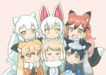 6+girls :d animal_ears arctic_fox_(kemono_friends) black_gloves black_hair blonde_hair blush bow bowtie brown_eyes character_request closed_mouth commentary_request extra_ears ezo_red_fox_(kemono_friends) fang food fox_ears fox_tail fur_collar gloves gradient_hair grey_hair half-closed_eyes japari_bun japari_symbol kemono_friends long_hair looking_at_viewer multicolored_hair multiple_girls oinari-sama_(kemono_friends) open_mouth pink_bow redhead silver_fox_(kemono_friends) simple_background smile tail tibetan_sand_fox_(kemono_friends) trait_connection white_hair yellow_eyes