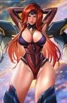 1girl arms_behind_head arms_up badcompzero blush breasts gluteal_fold green_eyes gun_goddess_miss_fortune headband highres hips large_breasts league_of_legends lips lipstick long_hair makeup redhead sarah_fortune solo swimsuit thick_thighs thighs very_long_hair
