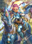 1girl armor armored_boots blue_eyes boots company_name dark_skin faceless faceless_male fiona_(fire_emblem) fire_emblem fire_emblem:_akatsuki_no_megami fire_emblem_cipher gloves hairband helmet hmk84 horse official_art pink_hair polearm sky solo spear weapon
