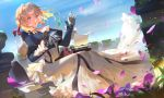 1girl bangs blonde_hair blue_eyes blue_jacket braid breasts brooch clouds dress eyebrows_visible_through_hair hair_between_eyes hair_intakes hair_ribbon highres jacket jewelry jinn_avalon long_sleeves on_lap paper petals plant red_ribbon ribbon sitting sky solo typewriter typing vines violet_(flower) violet_evergarden violet_evergarden_(character) wind wind_lift