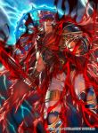 1boy armor blue_eyes blue_hair blue_scarf cape dark_persona fire_emblem fire_emblem:_akatsuki_no_megami fire_emblem:_souen_no_kiseki fire_emblem_cipher gloves headband ike kita_senri male_focus official_art ragnell scarf short_hair sword weapon