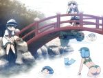 5girls anchor arm_warmers ass barefoot black_hair blonde_hair blue_eyes blue_hair climbing drill_hair eyebrows_visible_through_hair fishing geta green_eyes hair_bobbles hair_ornament hand_on_own_cheek hat head_fins heterochromia karakasa_obake kawashiro_nitori ladle leaning_on_rail mermaid mizuhashi_parsee monster_girl multiple_girls murasa_minamitsu o_o open_mouth outdoors pointy_ears red_eyes river sailor_collar shirosato short_hair shorts skirt skirt_set socks submerged sweat swimsuit tatara_kogasa thought_bubble touhou tree trembling two_side_up umbrella wakasagihime
