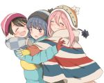 blue_hair blush brown_hair fingerless_gloves gloves hat hatopoo_(beach7pijon) hug jacket kagamihara_nadeshiko long_hair open_mouth pink_hair saitou_ena scarf shima_rin short_hair smile violet_eyes yurucamp