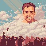 6+boys animated animated_gif billy_herrington blue_sky clouds faceless faceless_male gachimuchi igor_levchuk initial light_rays male_focus multiple_boys outdoors pixel_art salute sky smile solo_focus