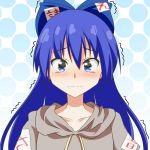 1girl blue_bow blue_eyes blue_hair blush bow cato_(monocatienus) collarbone commentary_request eyebrows_visible_through_hair grey_hoodie hair_between_eyes hair_bow hood hood_down long_hair looking_at_viewer polka_dot polka_dot_background solo tearing_up tears touhou trembling upper_body wavy_mouth yorigami_shion