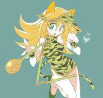 1girl blonde_hair breasts dark_magician_girl dress duel_monster hat long_hair misaka_(missa) nunchaku smile solo weapon yu-gi-oh! yuu-gi-ou_duel_monsters