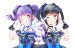 2girls bang_dream! bangs black_bow black_choker black_eyes black_hair blue_bow blush bow bowtie bridal_veil center_frills choker dress drumsticks feathers flower grin hair_bow hair_flower hair_ornament highres holding_drumsticks looking_at_viewer multiple_girls outstretched_arm purple_hair red_eyes sakuragawa_megu seiyuu seiyuu_connection sidelocks simple_background smile twintails udagawa_ako upper_body v v-shaped_eyebrows v_over_eye veil white_background yuyuyugoonn