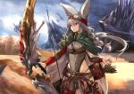 1girl animal_ears arrow bangs belt bow bow_(weapon) braid breasts cape closed_mouth commentary_request day desert eyebrows_visible_through_hair fox_ears fox_girl goggles goggles_on_head green_cape grey_leotard haik hair_between_eyes highleg highleg_leotard highleg_panties highres holding holding_weapon leotard long_hair long_sleeves medium_breasts multicolored multicolored_cape multicolored_clothes original outdoors panties quiver ready_to_draw sand silver_hair solo underwear violet_eyes weapon