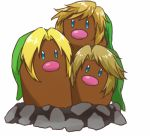 alolan_dugtrio annotated aqua_eyes bangs beanie blonde_hair commentary commentary_request creature dugtrio fusion green_hat hat link lowres multiple_persona no_humans parted_bangs pokemon pokemon_(creature) rophy sidelocks simple_background solo swept_bangs the_legend_of_zelda the_legend_of_zelda:_ocarina_of_time the_legend_of_zelda:_skyward_sword the_legend_of_zelda:_twilight_princess white_background